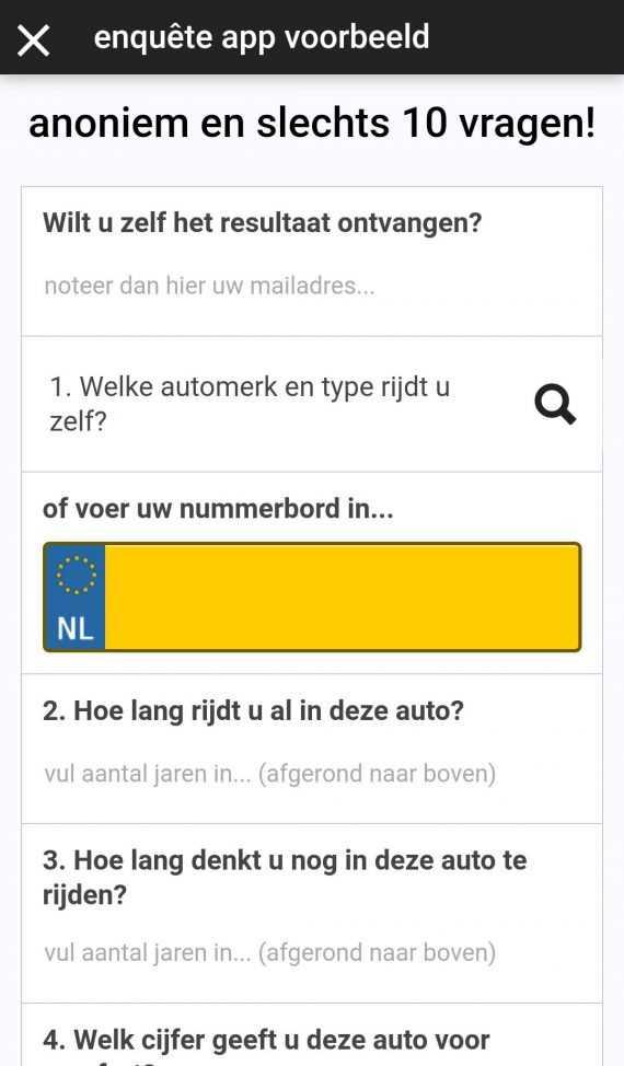 Screenshot enquete app