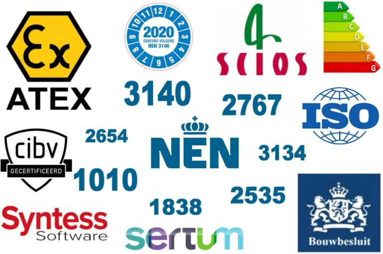 NEN, Scios, Scope, Atex, ISO, Sertum, CIBV, RGD