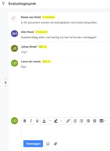 Klantvoorbeeld meta communicatie in een app voor goede interne communicatie